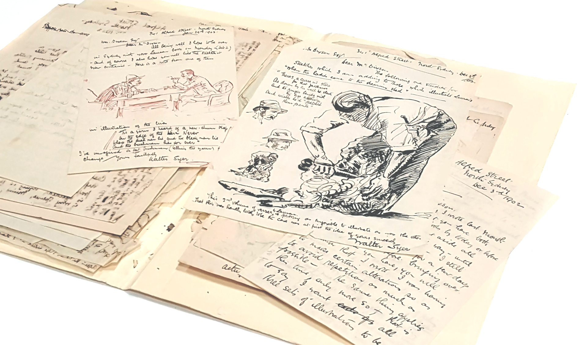 A collection of letters, with hand drawings.