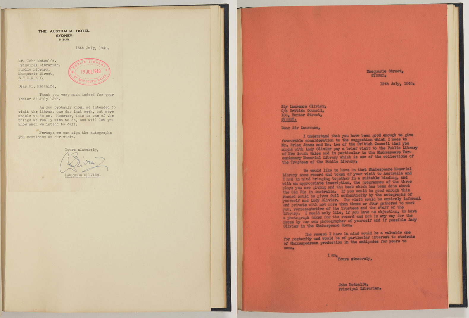 Letters to and from John Metcalfe and Laurence Olivier