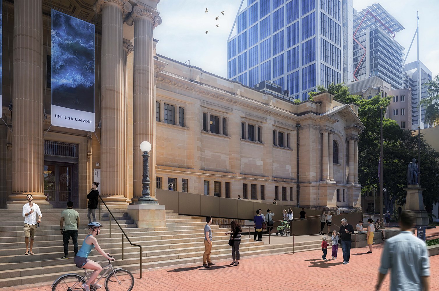 Photomontage of Shakespeare Place looking west with proposed ramp.