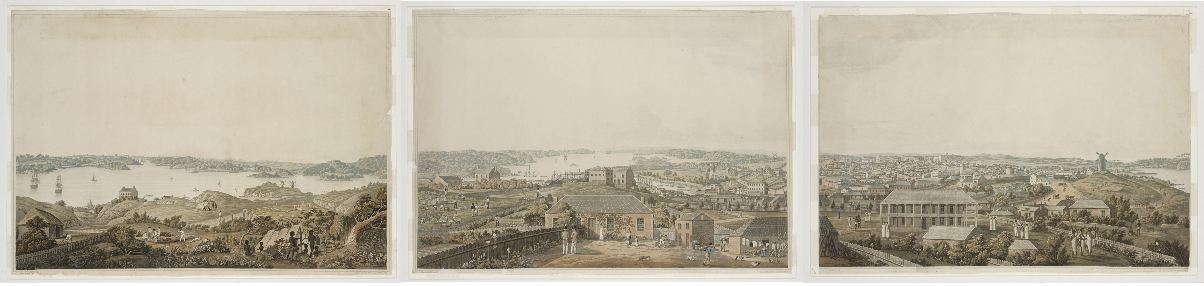 Panoramic views of Port Jackson, ca. 1821 / drawn by Major James Taylor, engraved by R. Havell & Sons