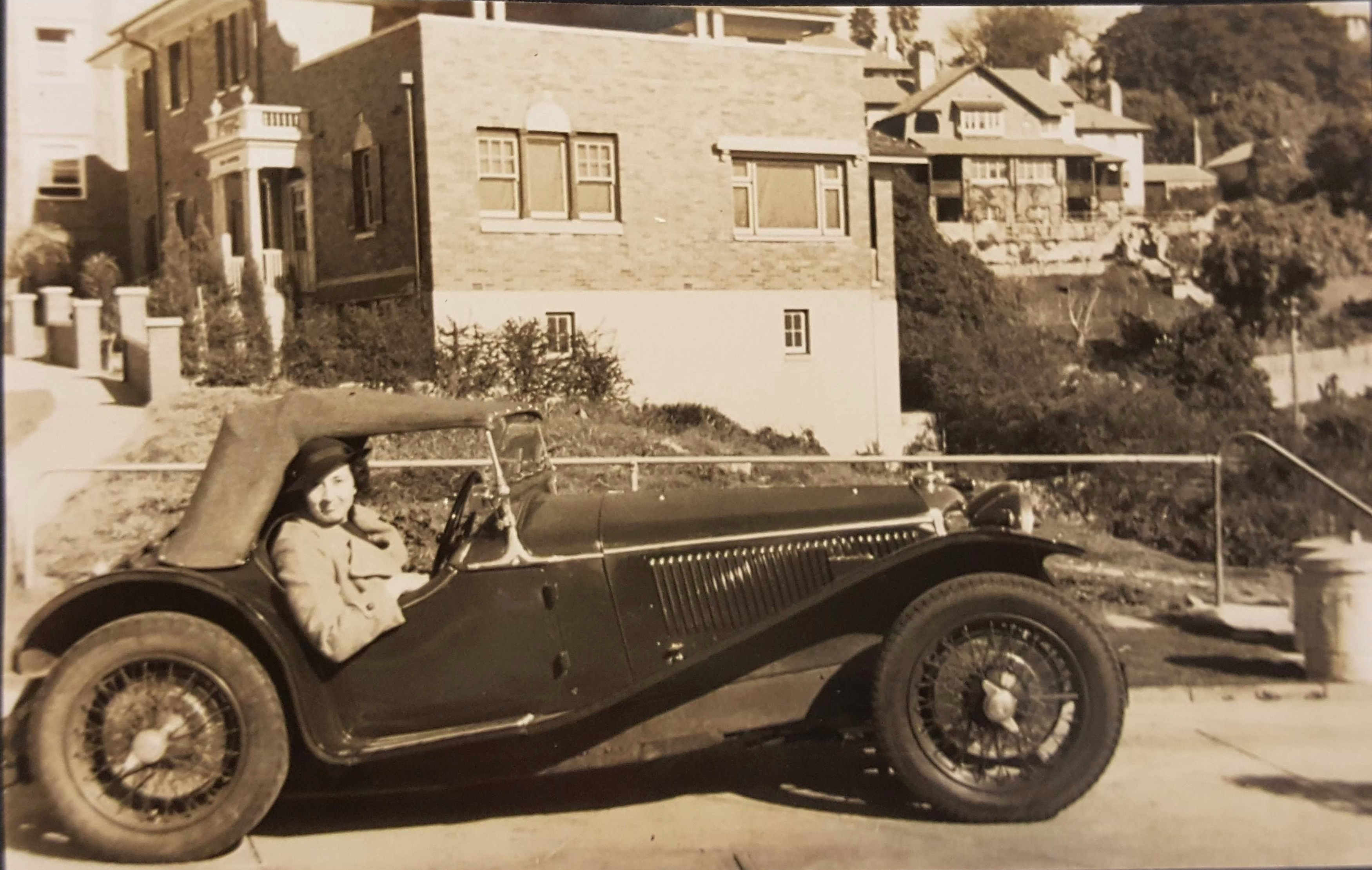 Marcia Clark in her Riley Imp, Point Piper Sydney, 1936, photographer unknown, vintage gelatin silver print