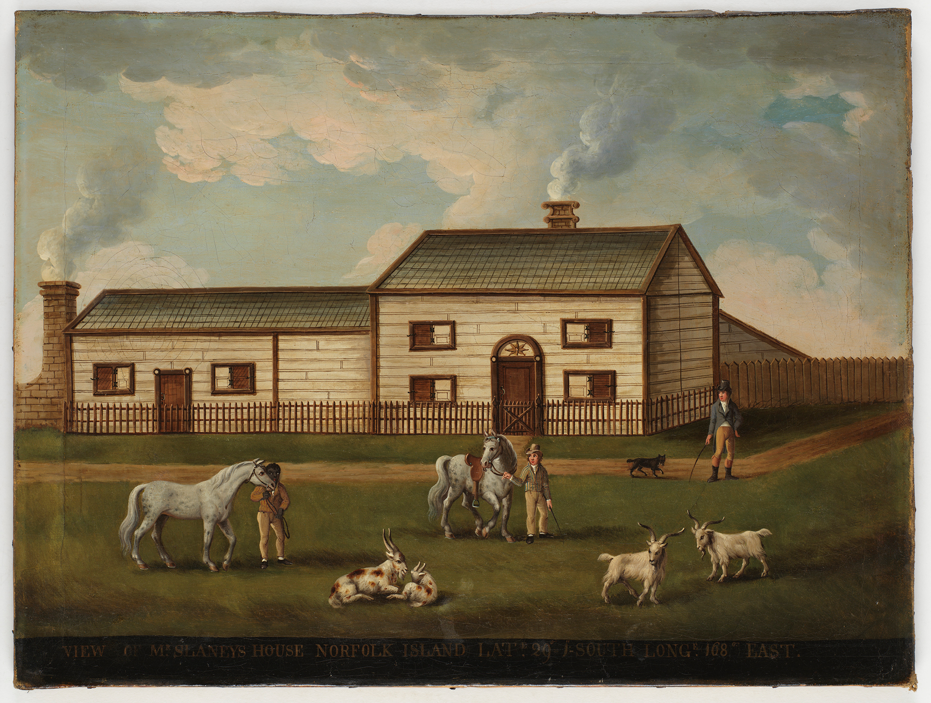 View of Mr Slaneys House, Norfolk Island, Lat. 29 1 - South Long. 168 East, ca. 1800 / oil painting attributed to English Naive School