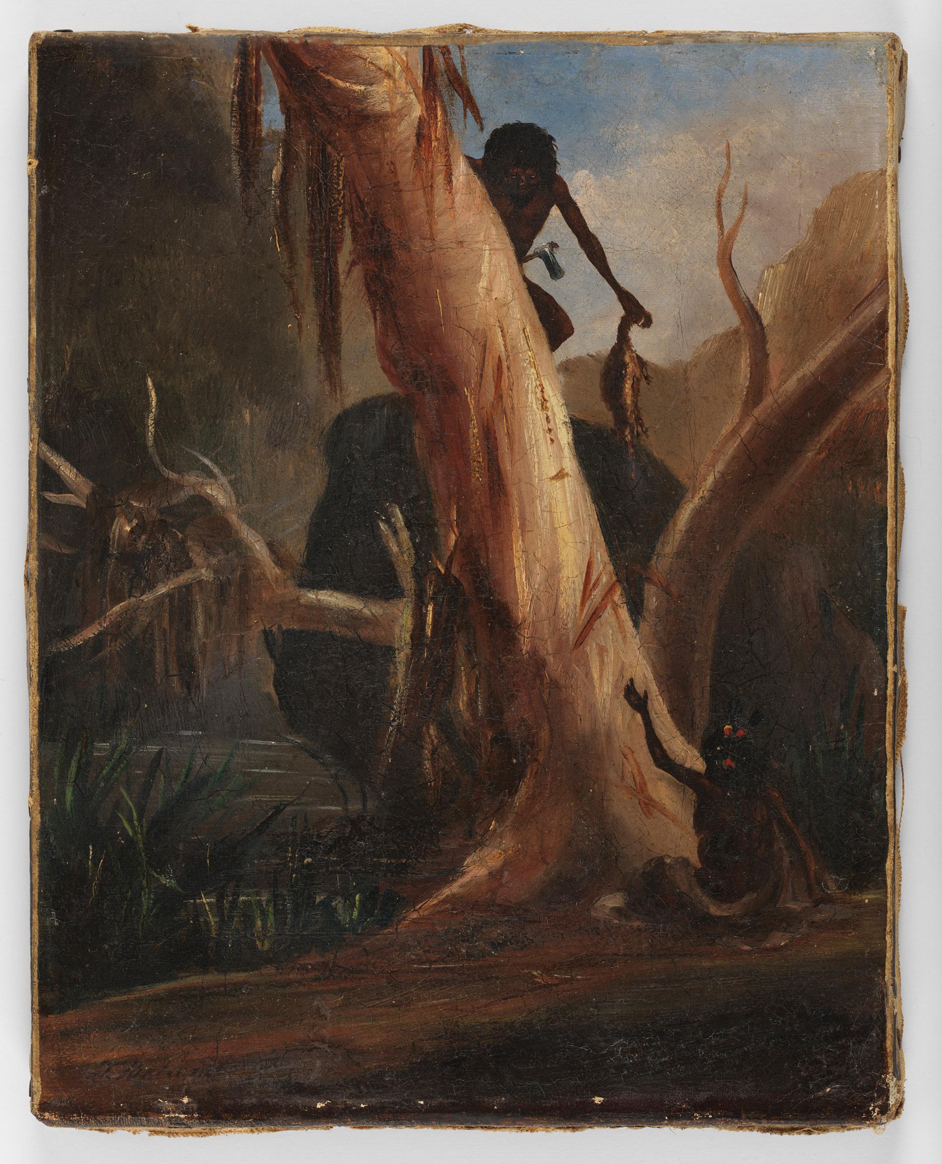 [Aborigines hunting], April 1858 / T. Balcombe