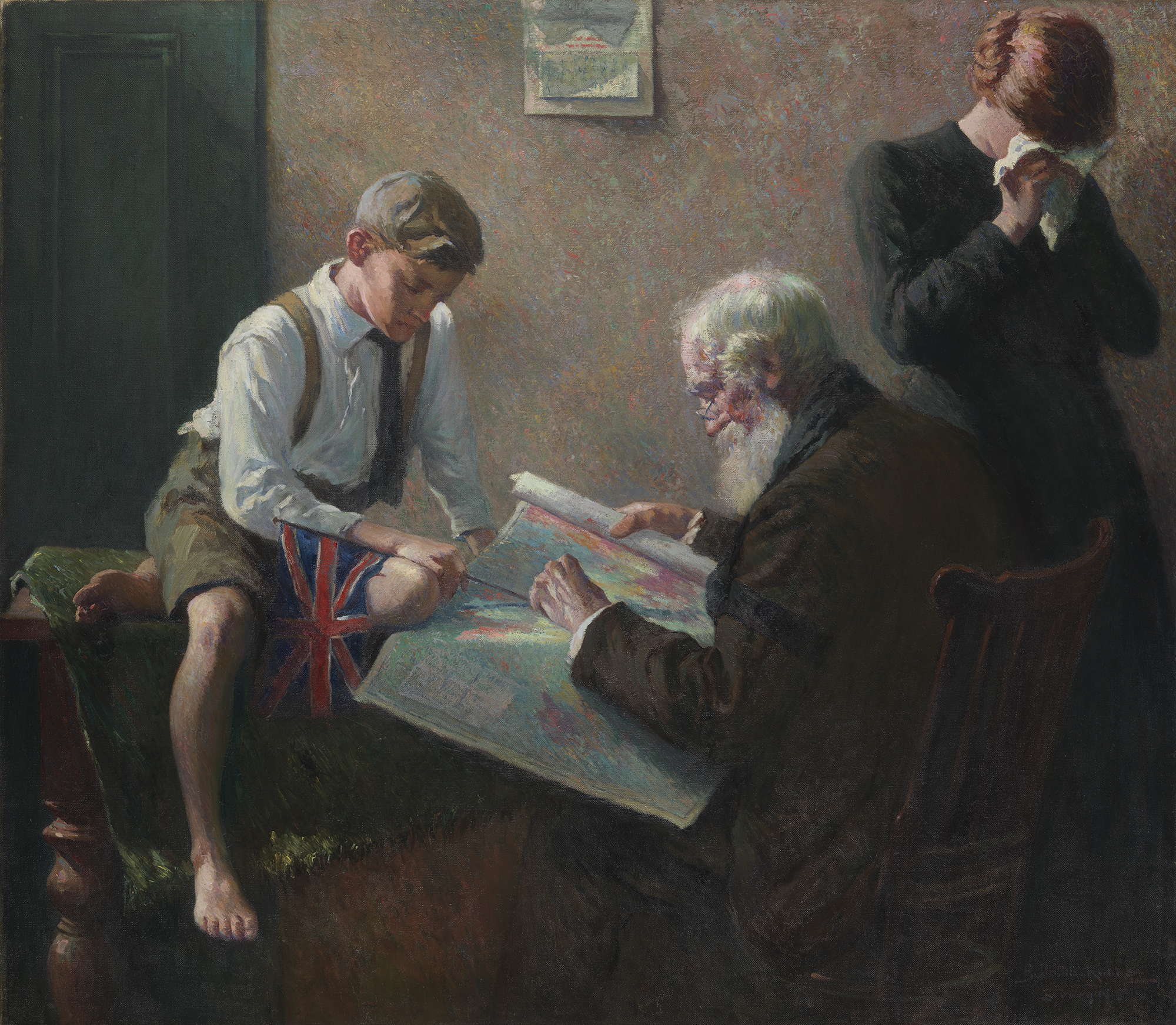 Oil painting showing old man and young boy looking at a map. A woman turns away from them weeping.
