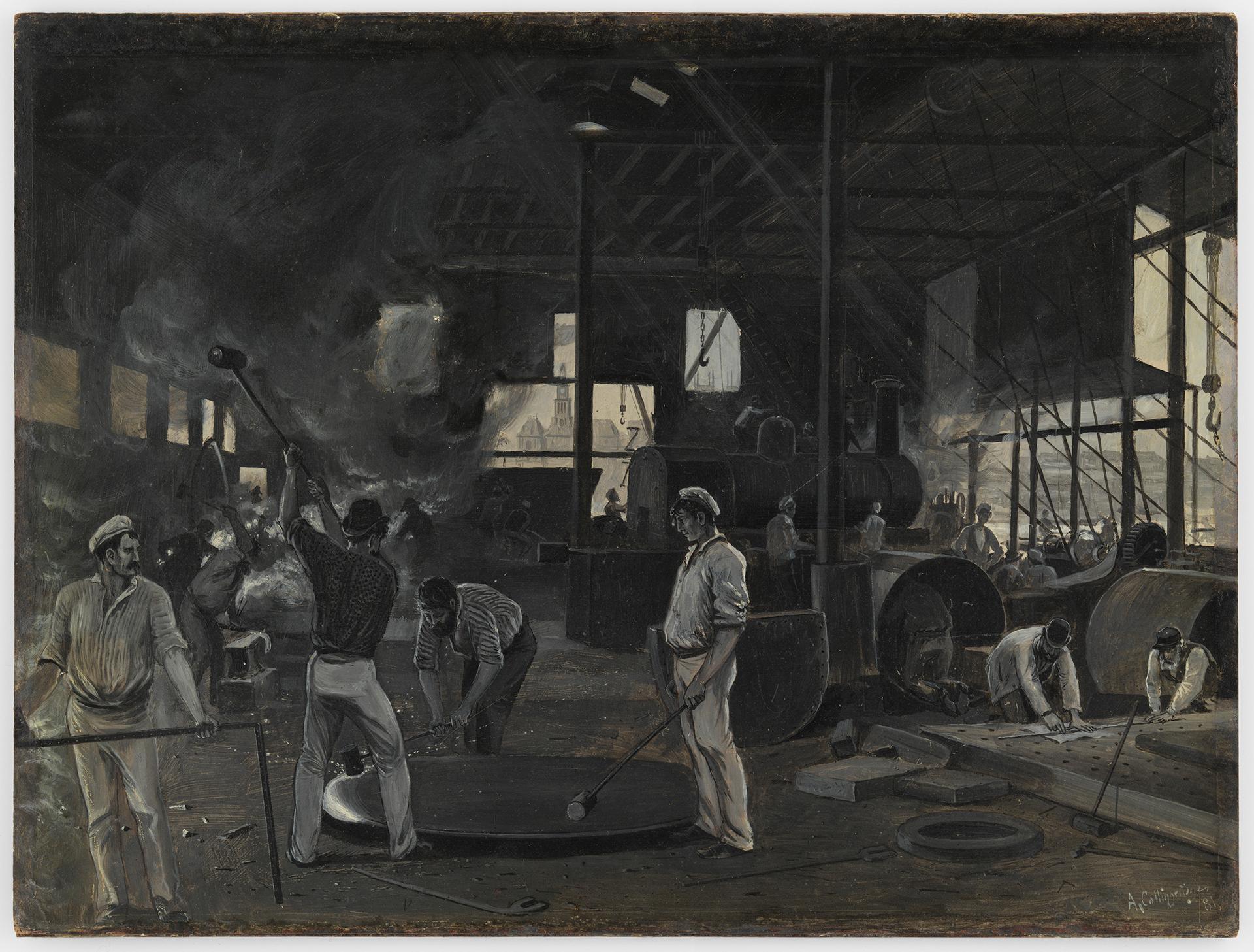 The Atlas Works, Sydney - making first locomotive engine, 1881 / Arthur Collingridge