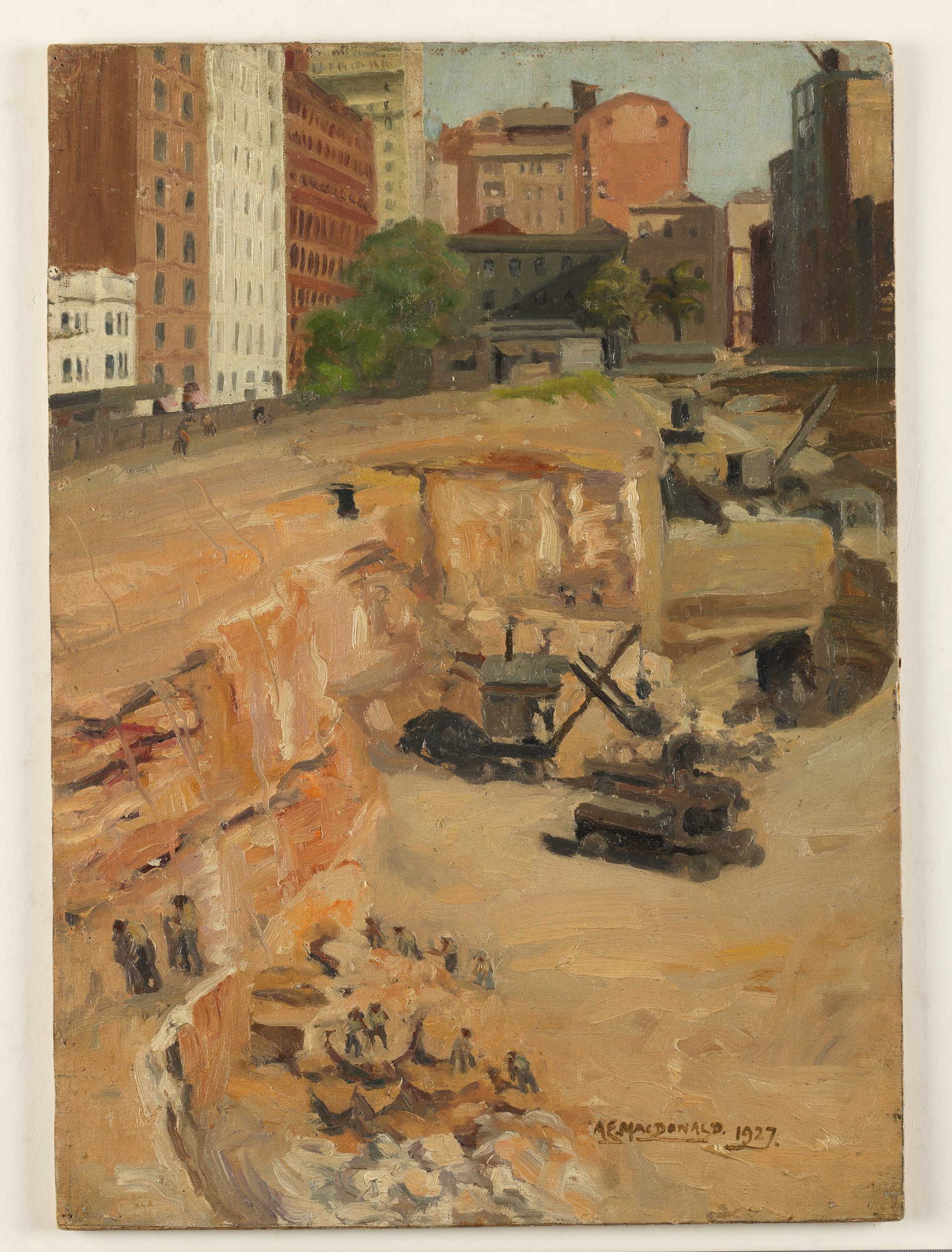 Wynyard Park during excavations for Wynyard Station 1927 / A.E. Macdonald
