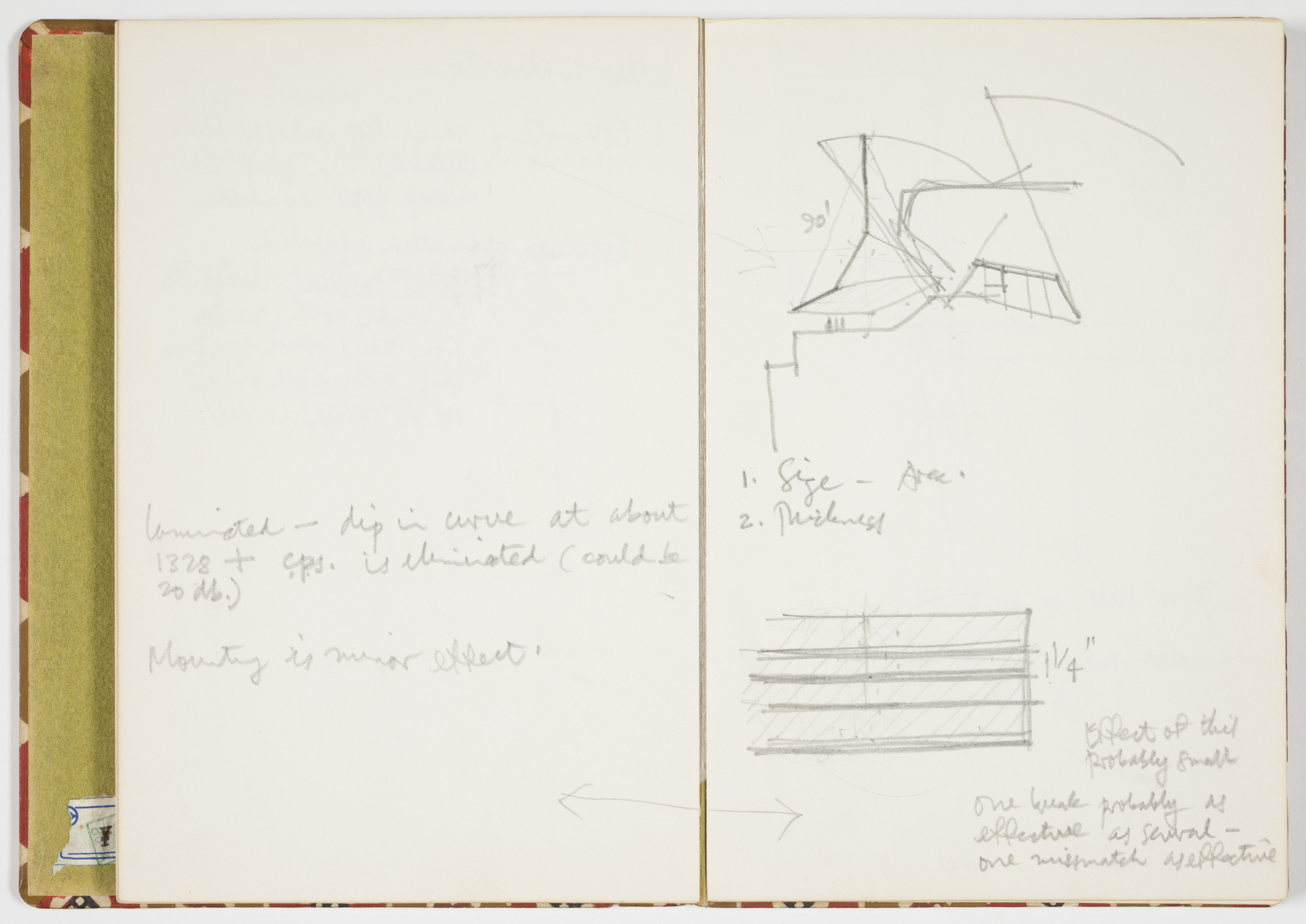 Pencil sketches in an open notebook showing a profile of two of the arches of the Sydney Opera House, surrounded by calculations.