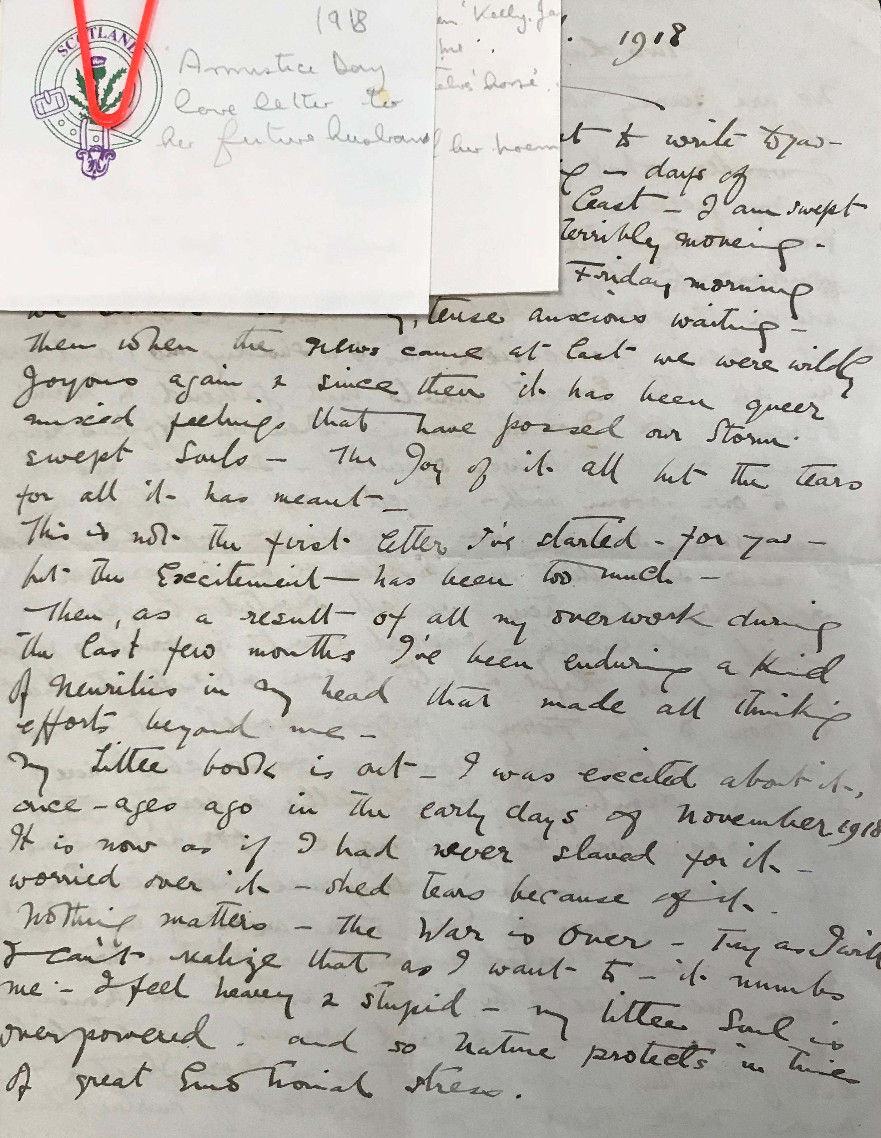 A handwritten letter dated 1918.