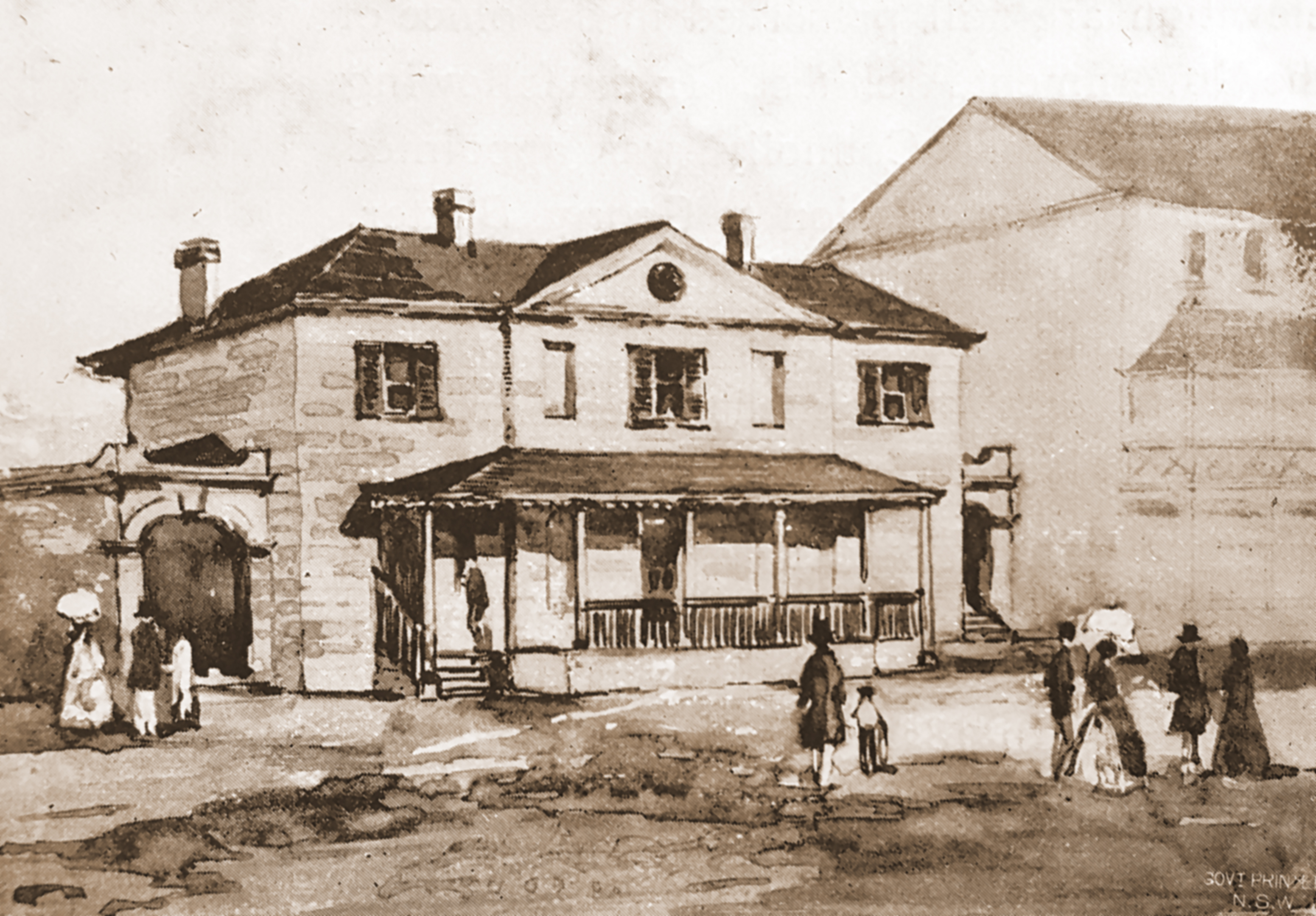 The old Post Office, George Street, illustration from Historical Notes, Bladen, 1911