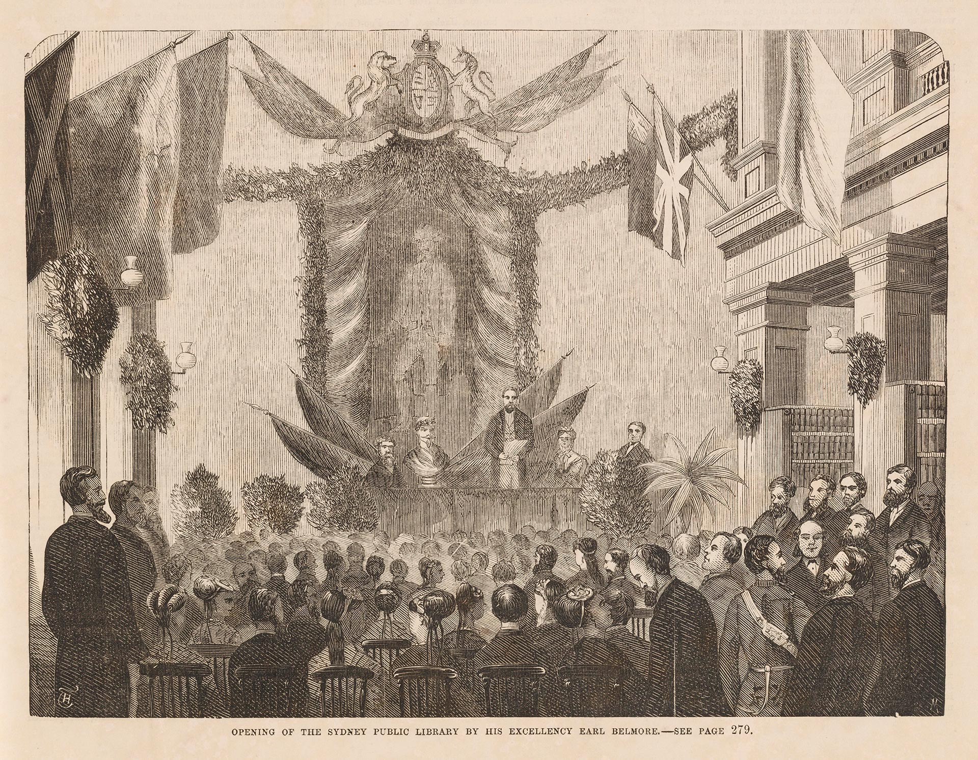 An illustration depicting a lavish gathering of gentlemen.
