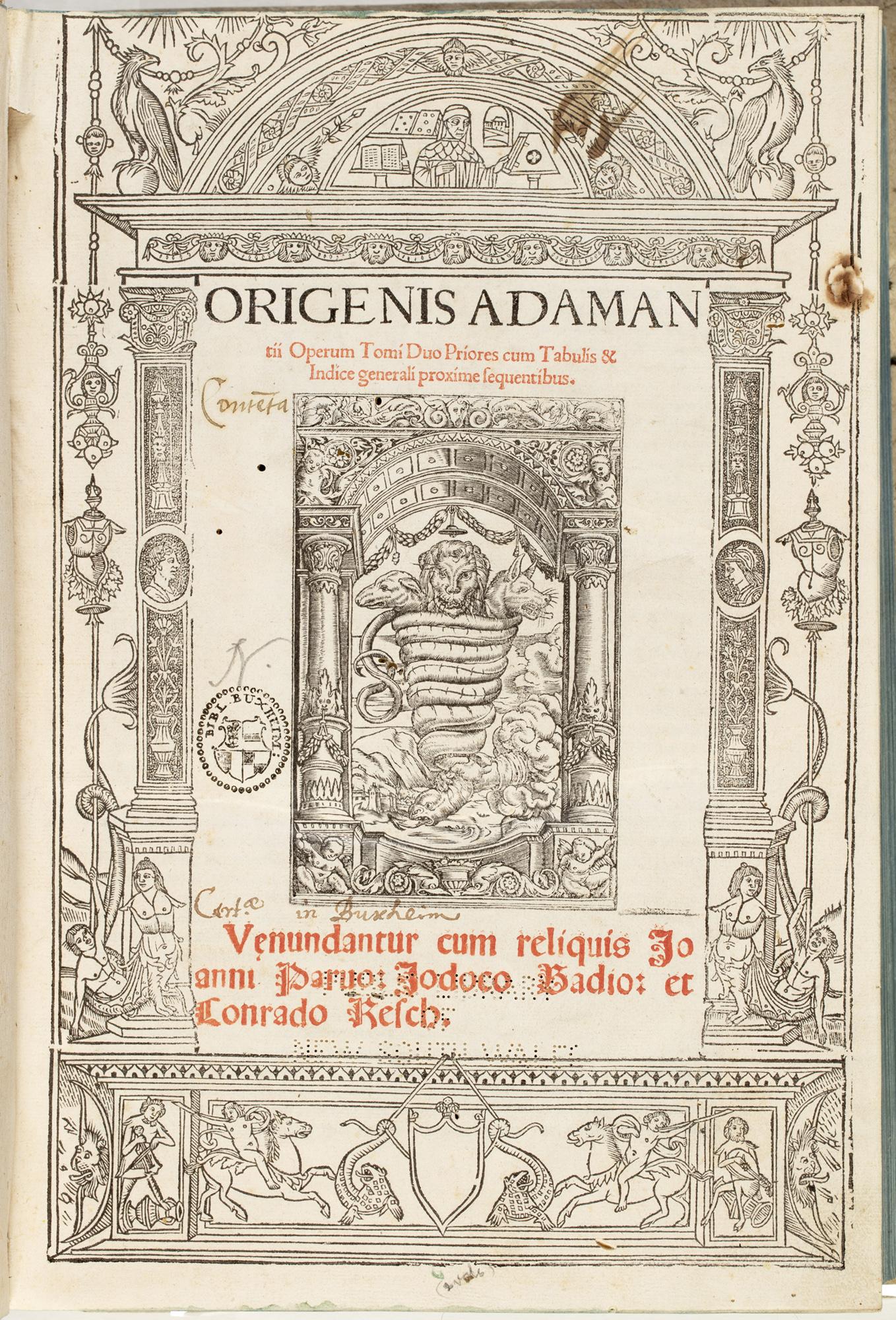 Origenis Adamantii Operum tomi duo priorescumtabulis & indice generali proxime sequentibus.