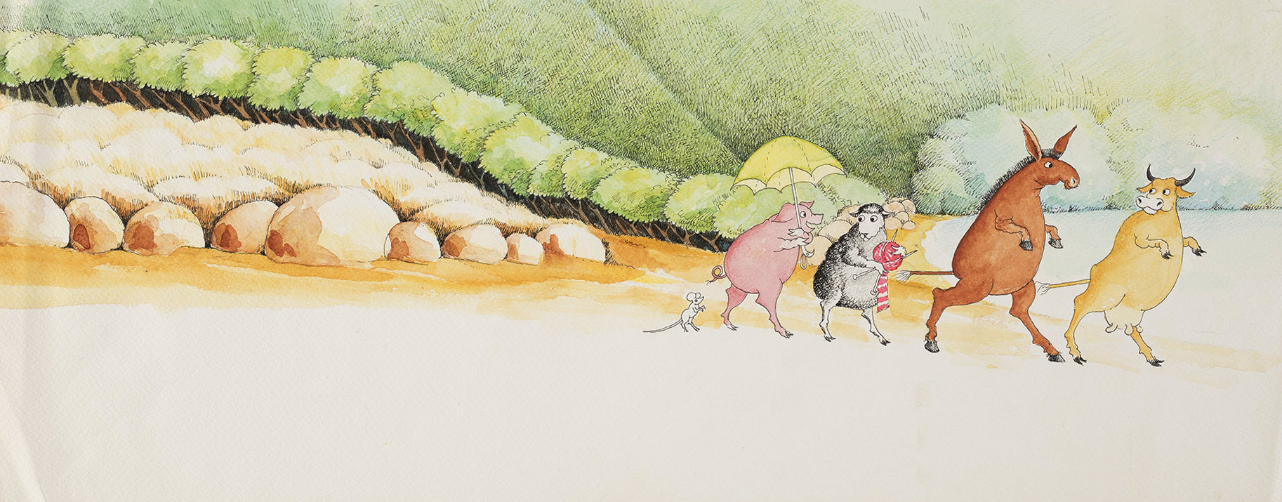 A cow, a donkey, a sheep, a pig, and a tiny mouse are walking along the seaside.