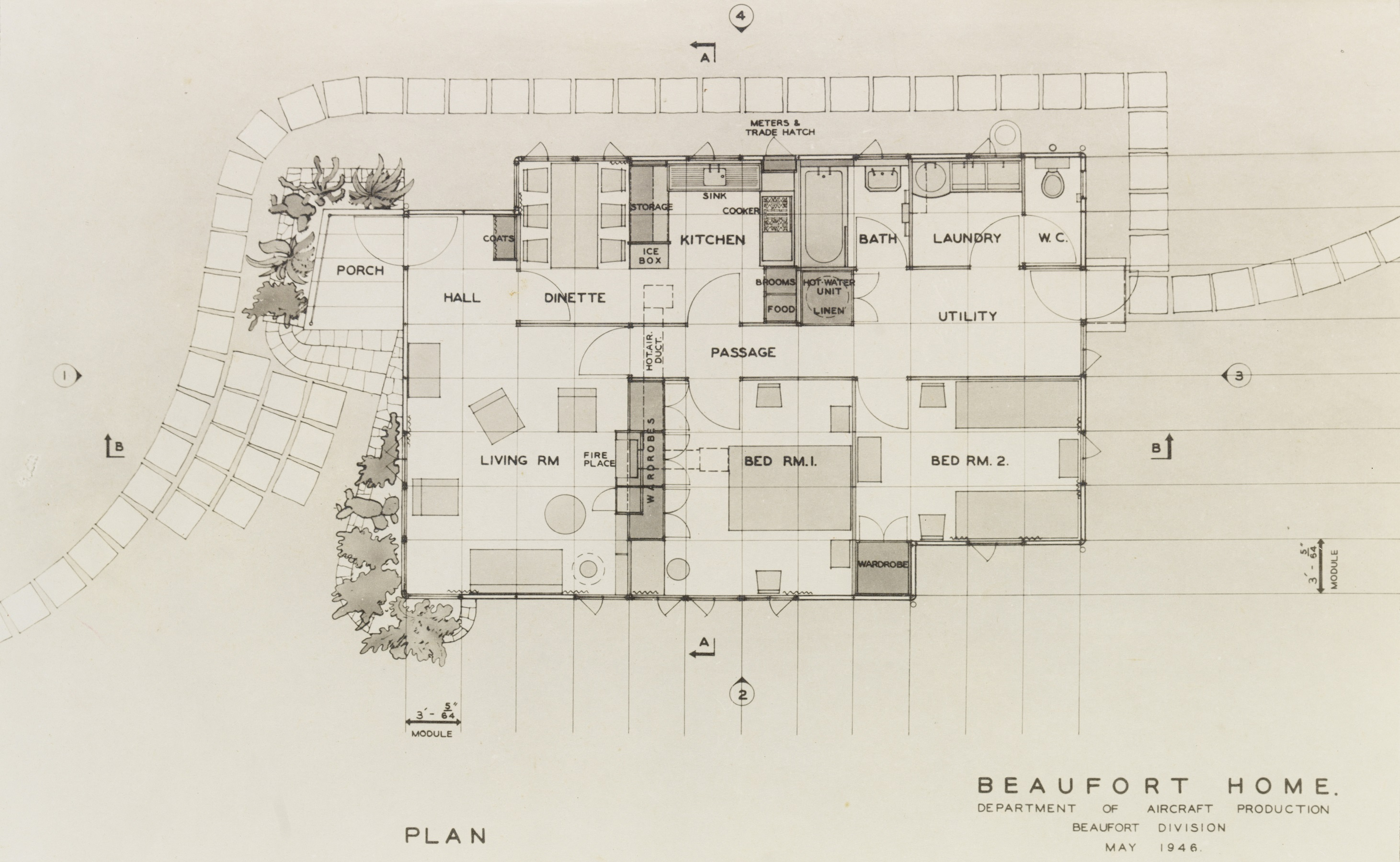 Plan, Beaufort Home, Beaufort Division, Dept. of Aircraft Production, [designed by Arthur Baldwinson], May 1946. Architectural Plan. PXA 372 v.5/18
