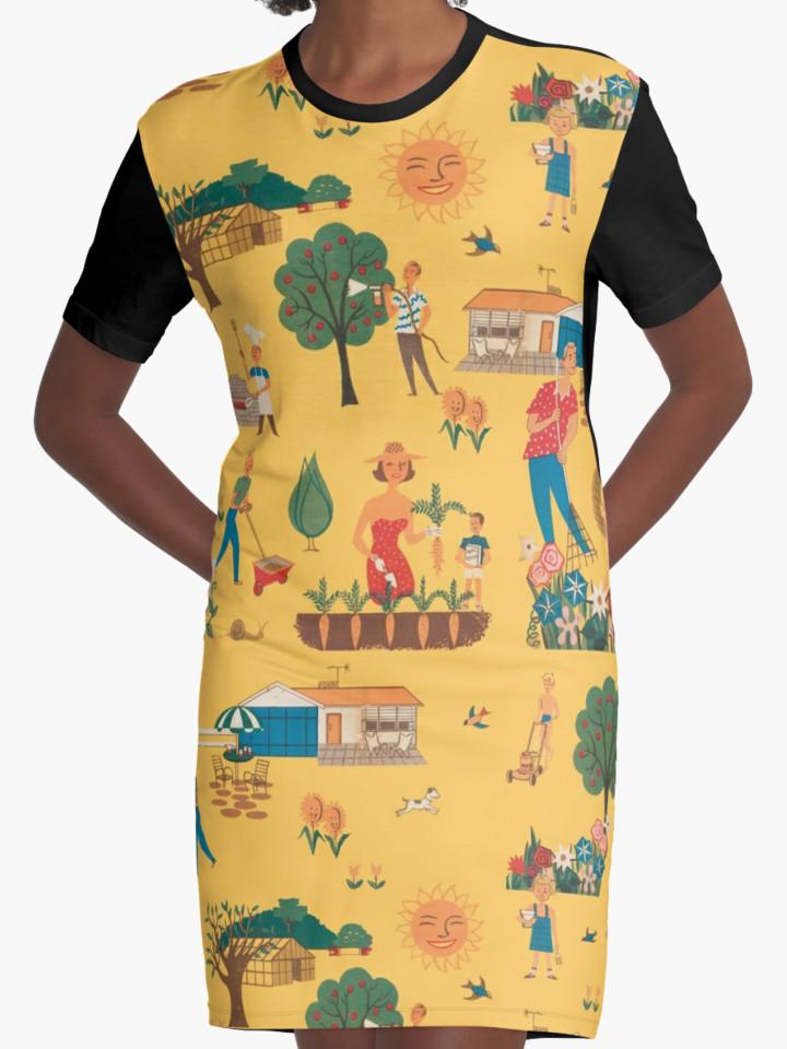 50s garden print dress
