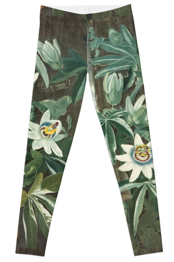 Flannel flower print leggings