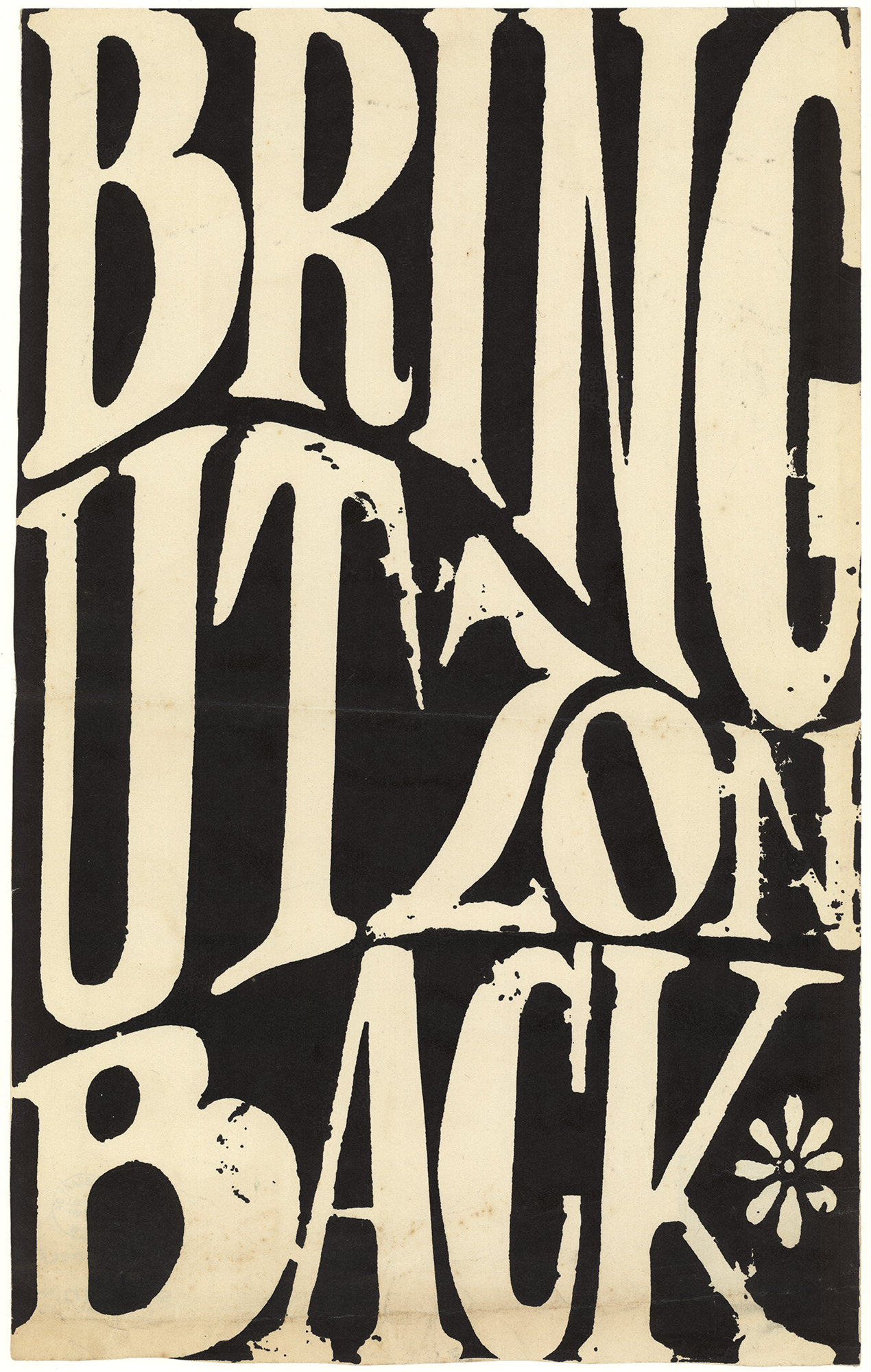 Silk screened poster - Black background with cream writing stating 'Bring Utzon Back'