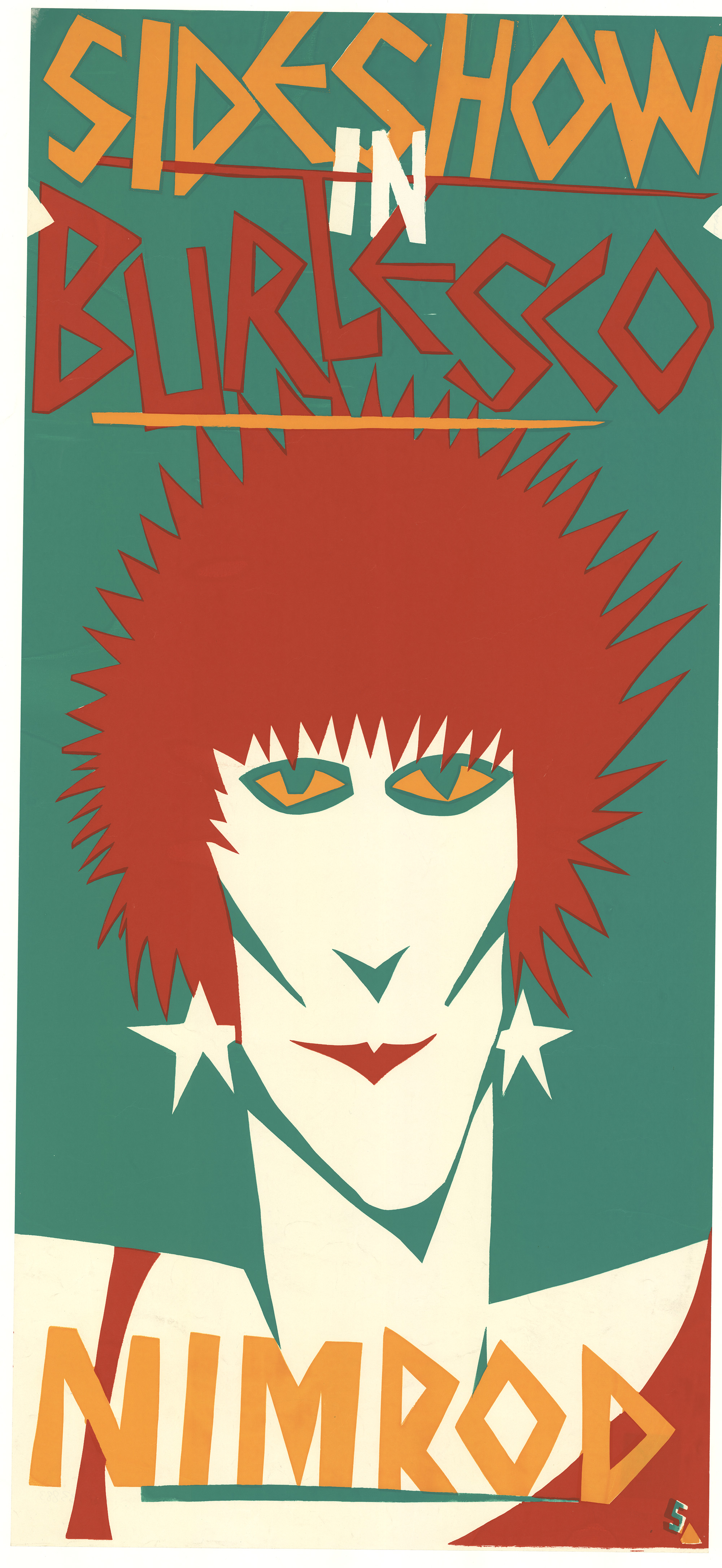Silk screened coloured poster of a punk rocker - NIMROD