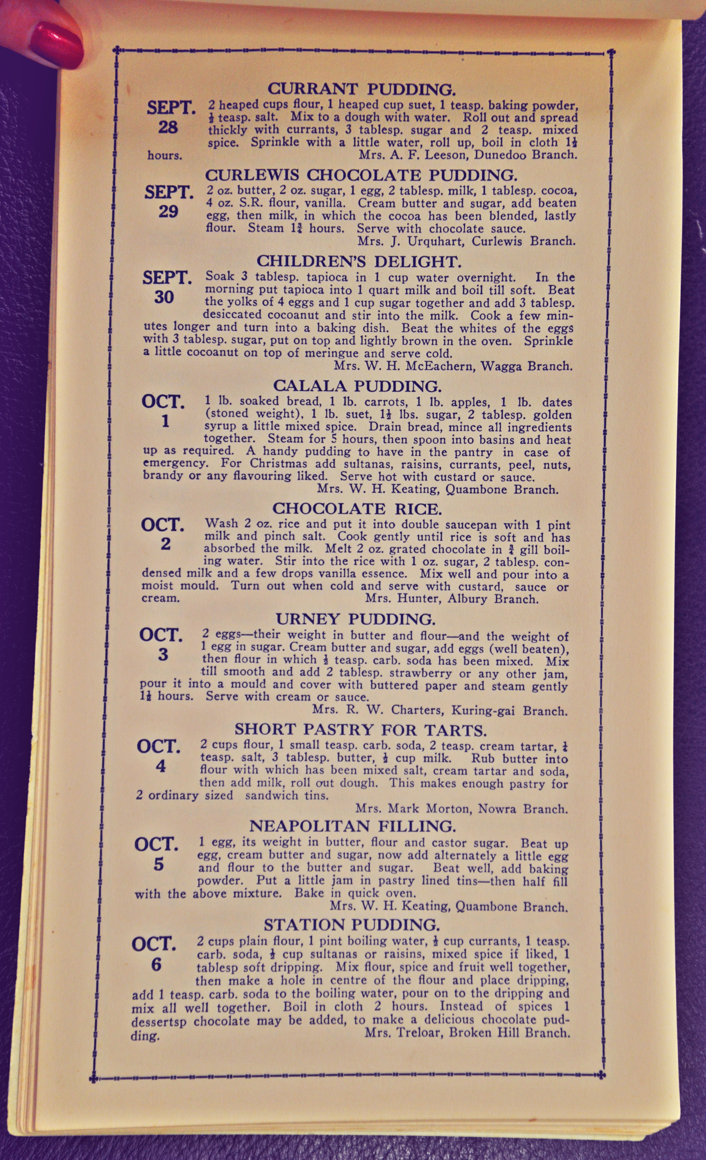 Country Women's Association of New South Wales calendar of puddings : a recipe for each day of the year (28 Sep - 6 Oct)