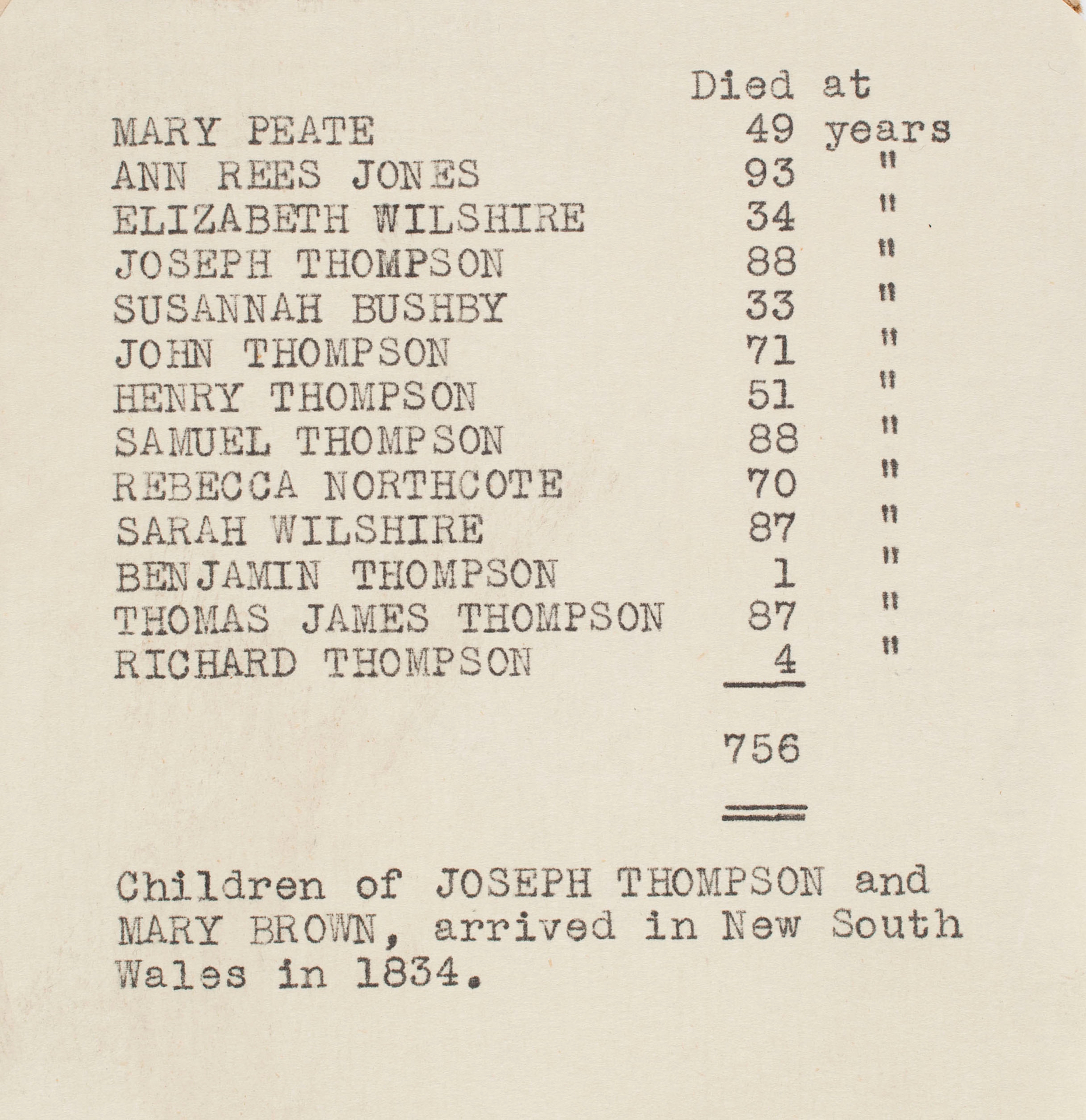 A list of names and ages at death of the Thompsons' children.