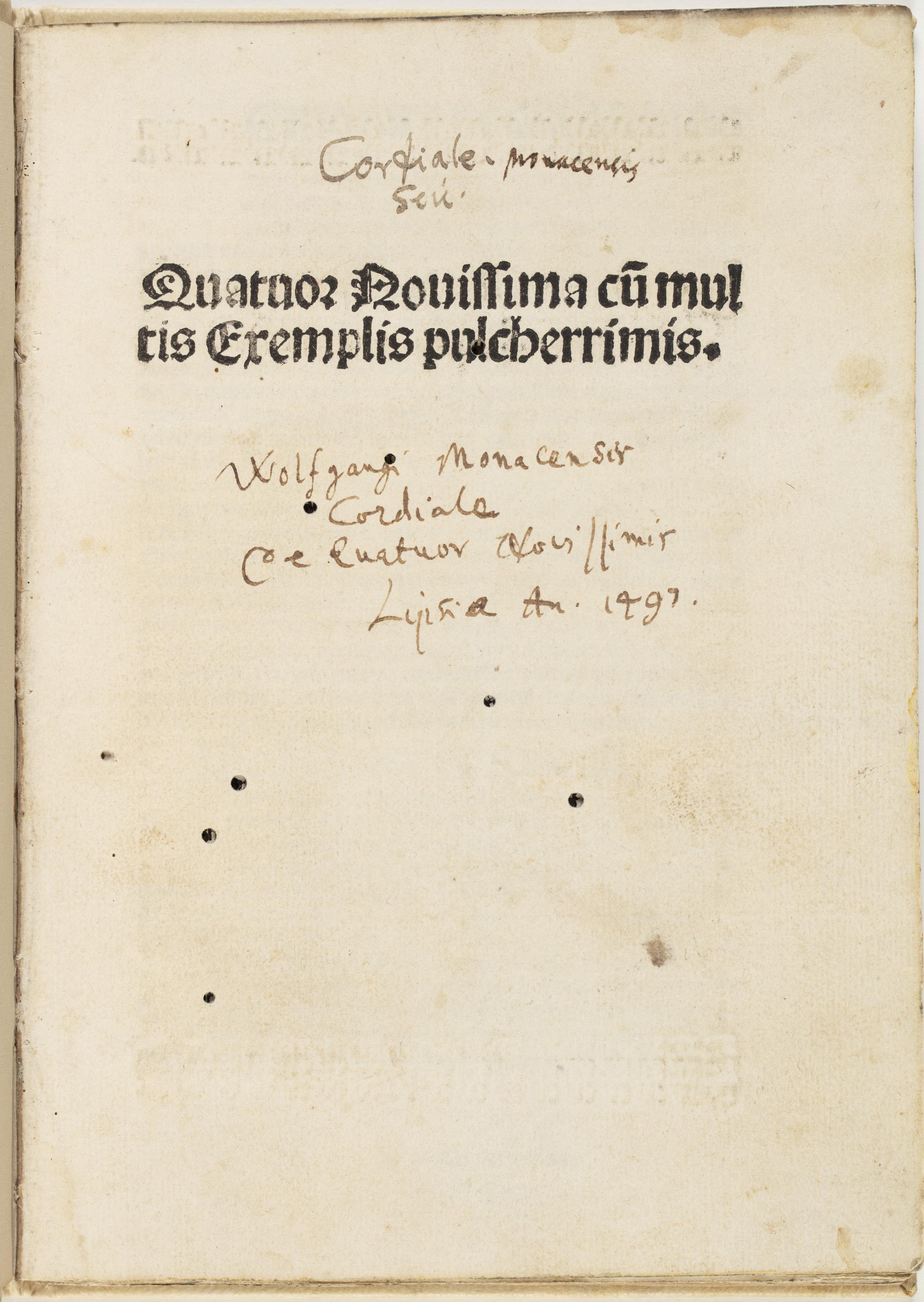 Quatuor nouissima cu[m] multis exemplis pulcherrimis, 1497, by Denis, the Carthusia
