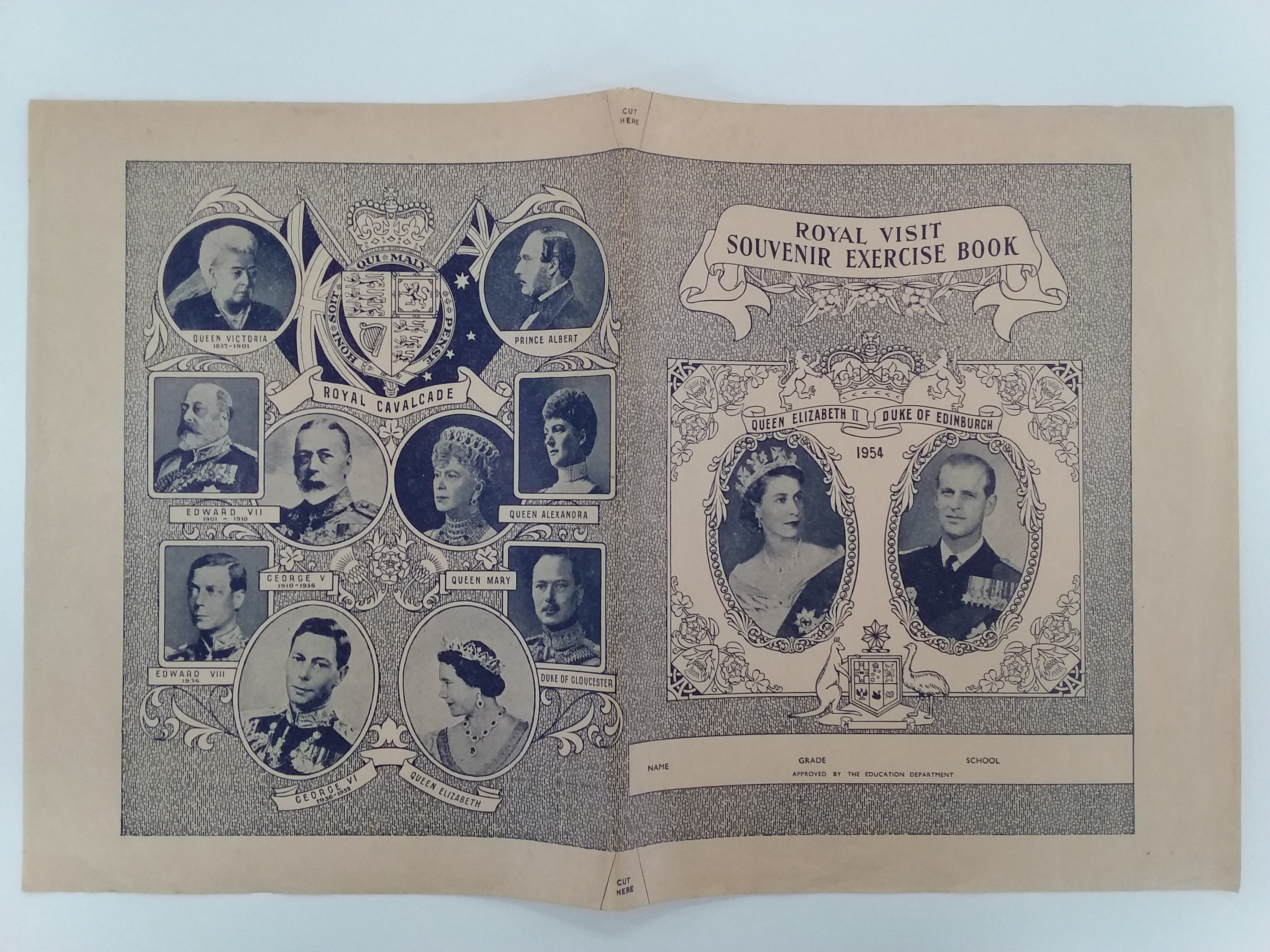 A school exercise book cover issued to children to commemorate the royal tour of 1954