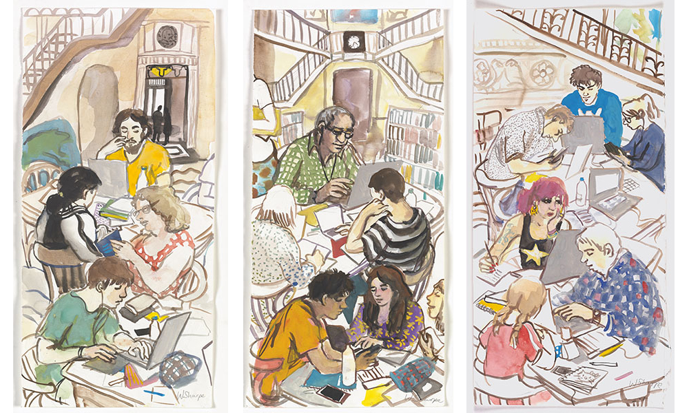 Colourful illustration depicting people sitting at crowded desks, reading and studying.