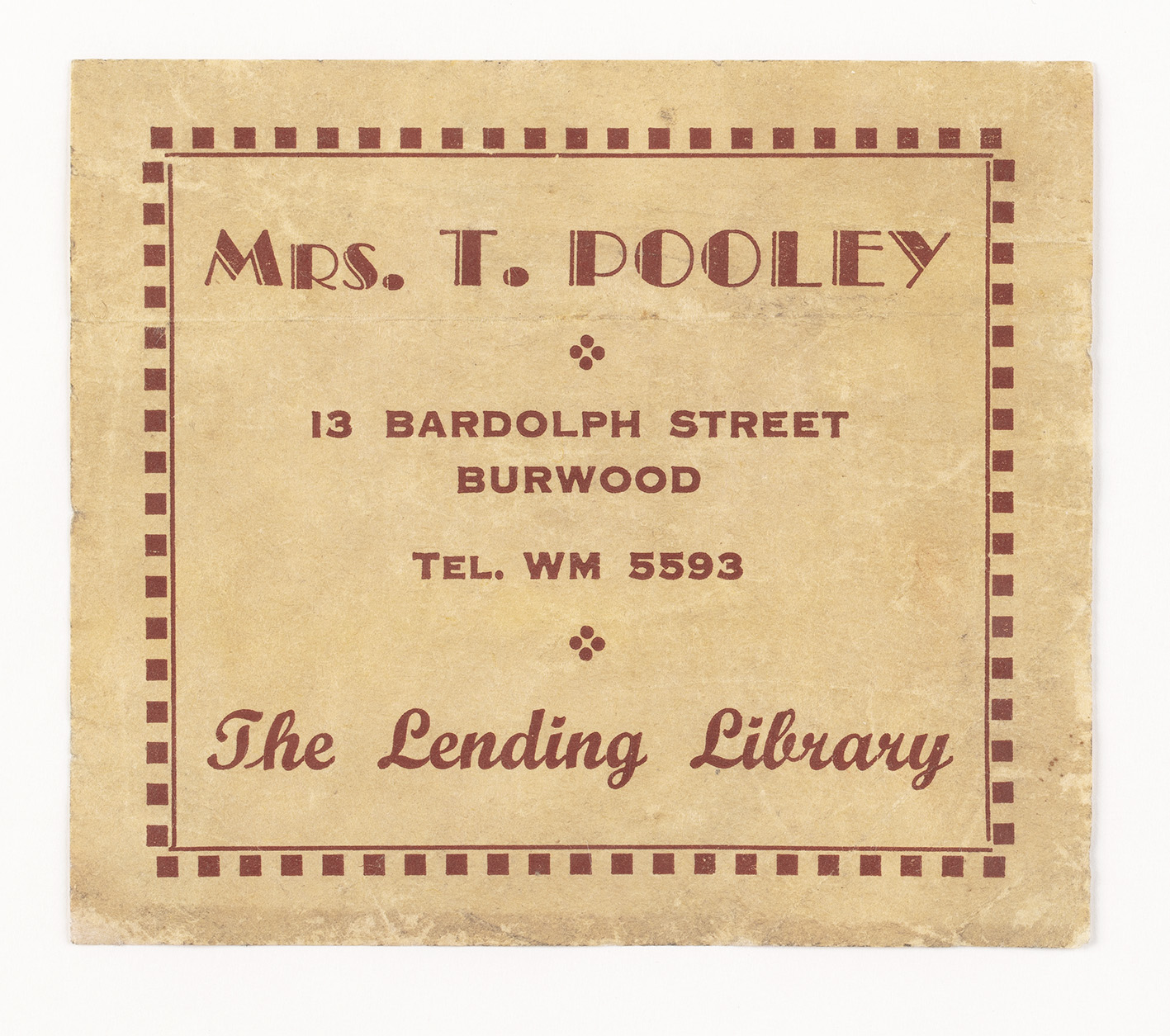A bookplate showing the library ownership of the book.
