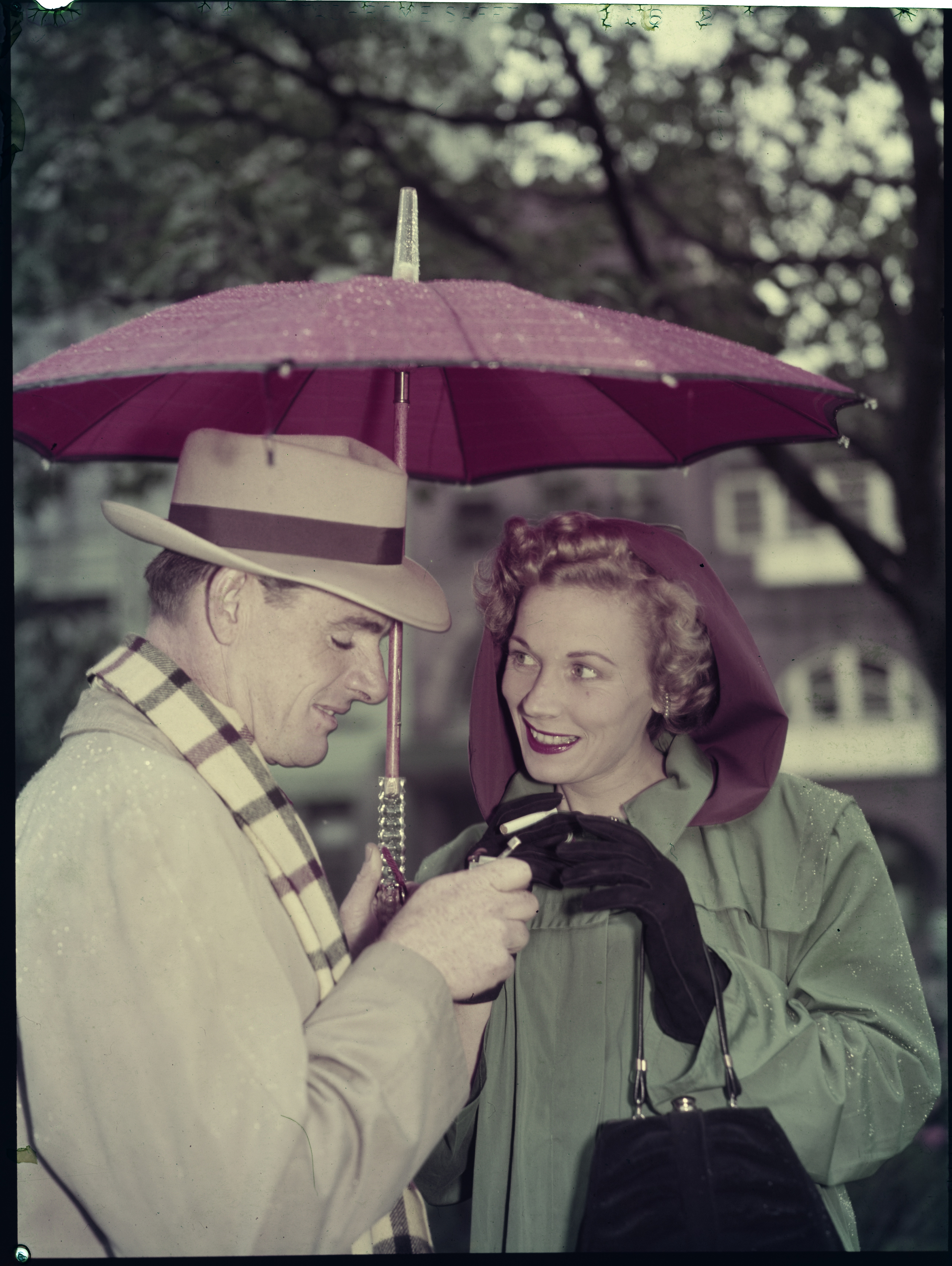 File 8: Home, black and white of colour, couple in rain in park, March 1950 / photographed by Max Dupain