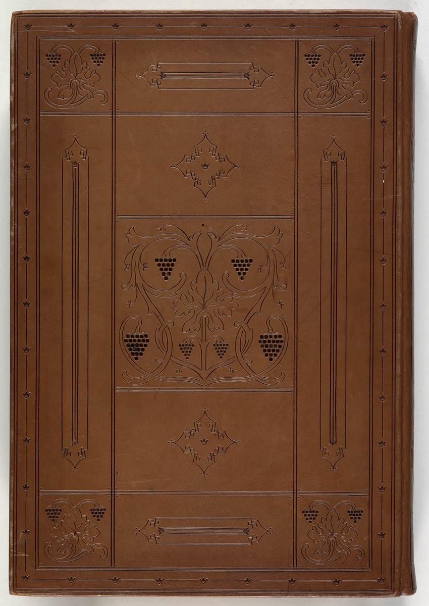 Kangaroo hide binding featuring William Morris design