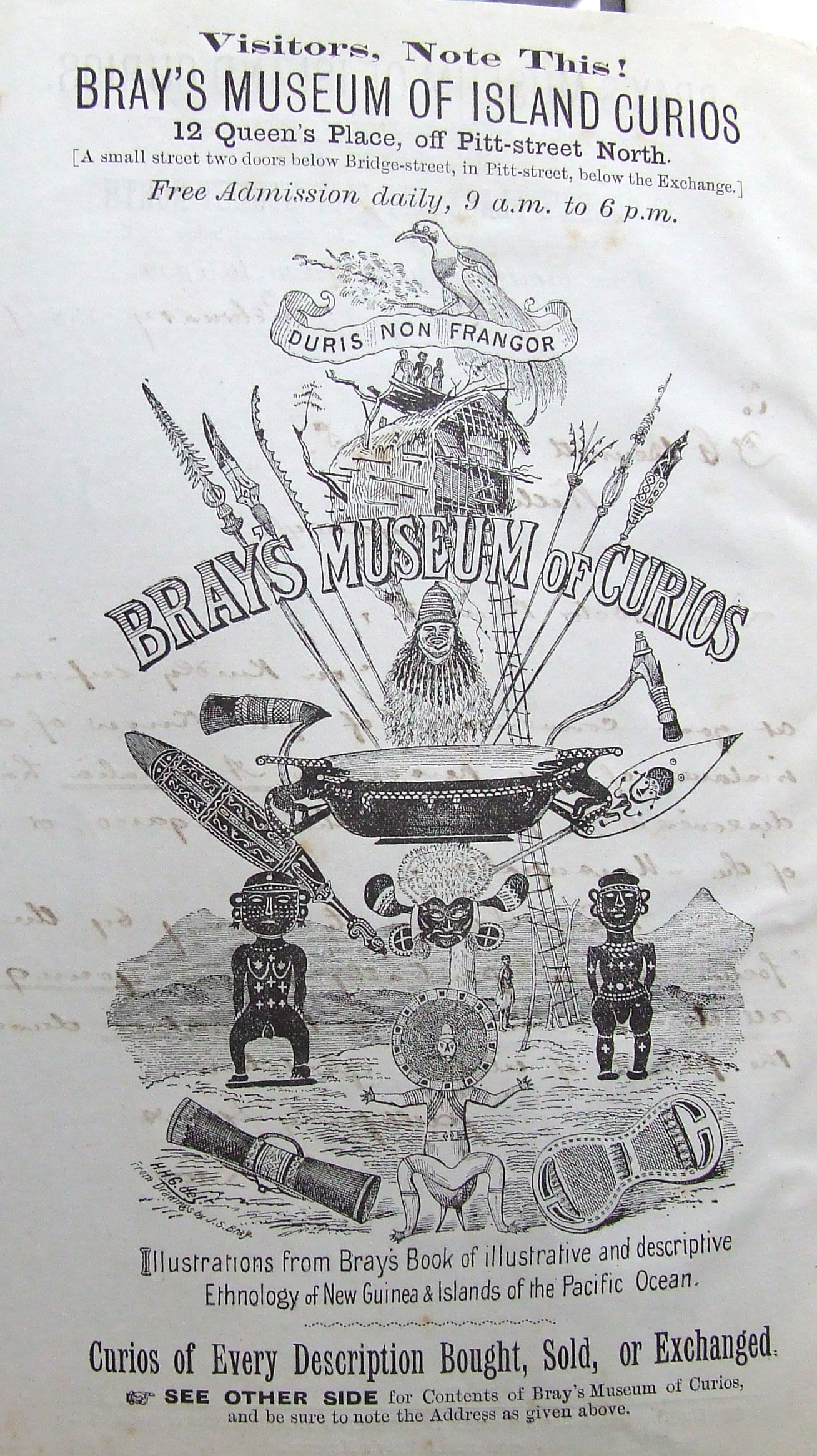 1880s advertisement for Bray's Museum of Curios in Sydney, illustrating numerous Pacific Island artefacts.