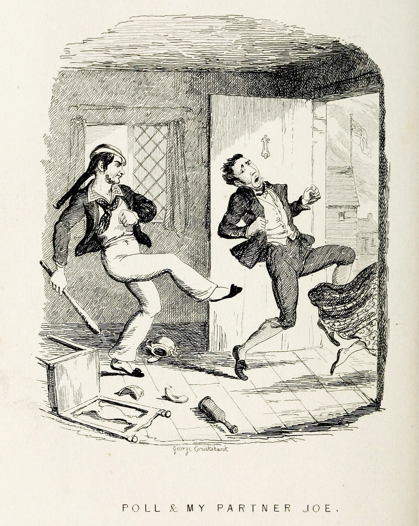Illustration by G Cruikshank, from Songs of the Late Charles Dibdin, 1841, showing life between decks and the recreational singing of 'fo'c'sle shanties'