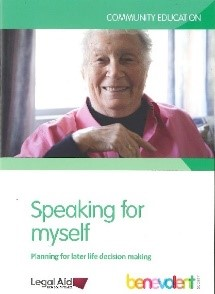 Speaking for myself: planning for later life decision-making Cover