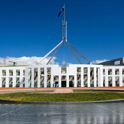 Front entrance of Parliament House in Canberra