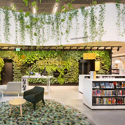 Library foyer with bookshelves, seating, returns area with wall garden