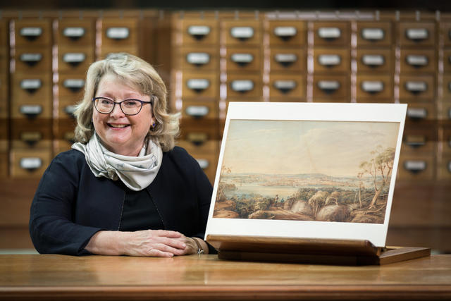 Jane Garling with a Frederick Garling watercolour