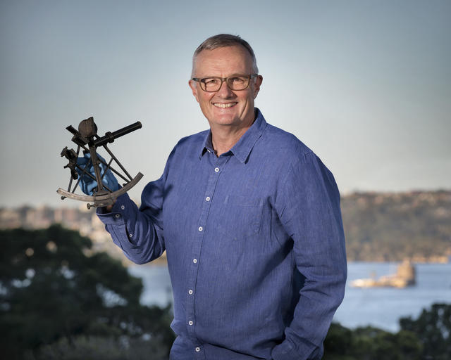 Phil Barter Holding a Sextant
