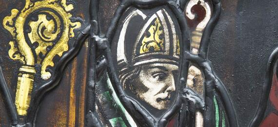 Picture of man on stained glass window