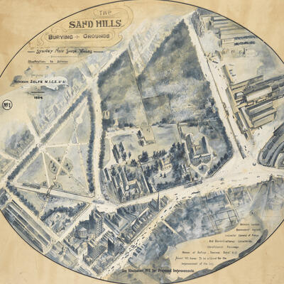 Large illustration of a city site.
