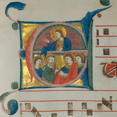 Illustration of Christ and saints