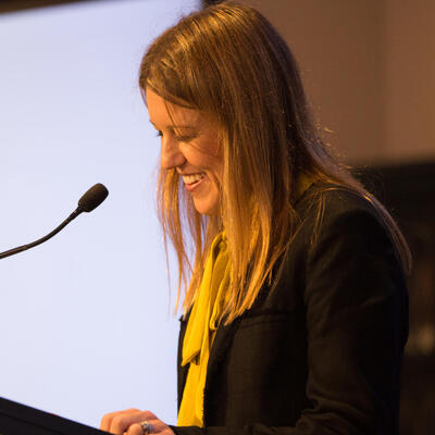 Rachel Hill speaks at the 2017 Russell Prize for Humour Writing
