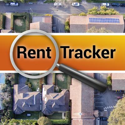 The words rent tracker over an aerial view of houses