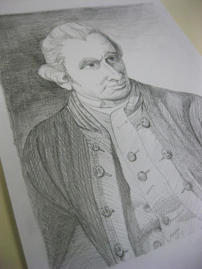 pencil drawing of Captain James Cook