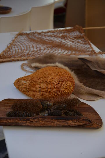 Aboriginal cultural artefacts on a table