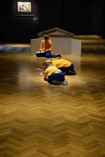 Children working in a gallery