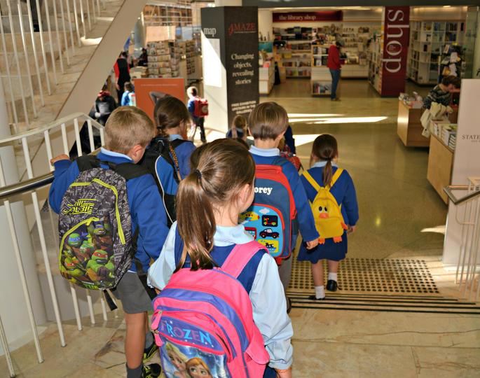 children walking down stairs