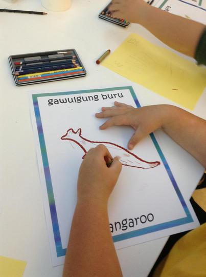 Child drawing an image of a Kangaroo