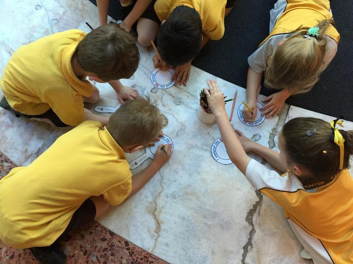 birds eye view of 5 children drawing