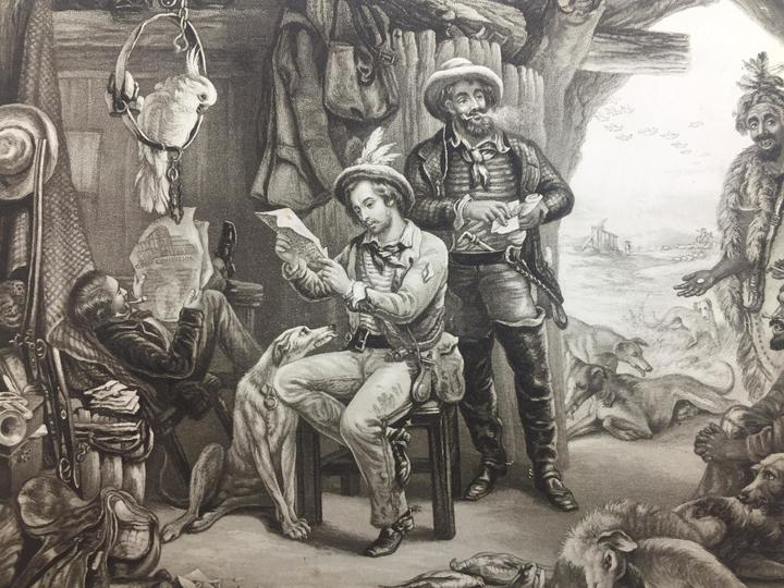 black and white etching of three European explorers and animals in a hut with an indigenous man looking in