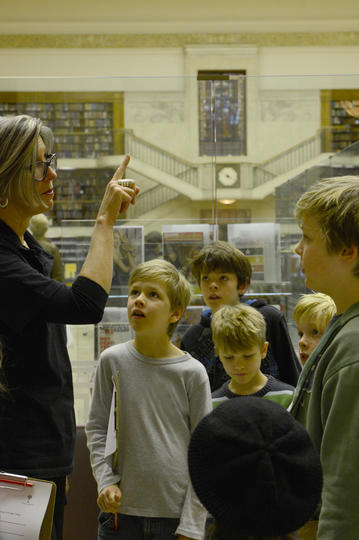 Children on a guided library tour