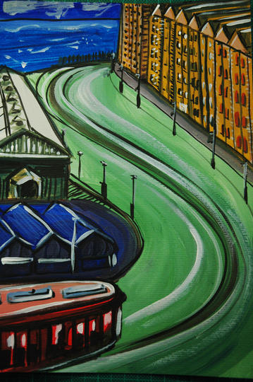 painting of street and tramway